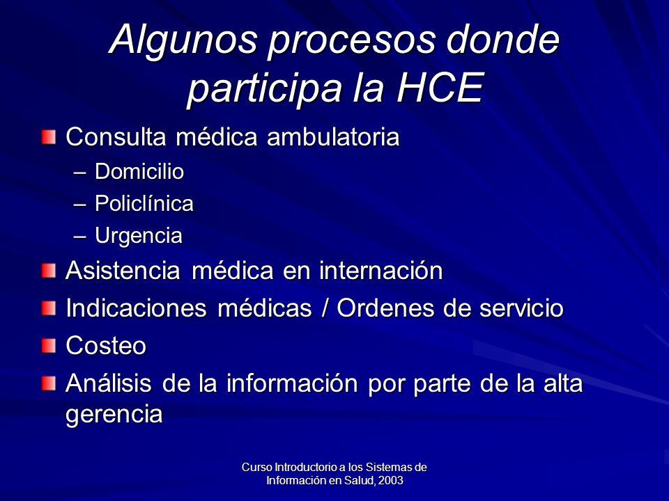 Algunos procesos donde participa la HCE