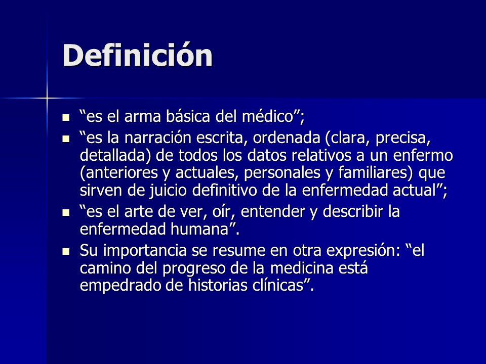 Definición es el arma básica del médico ;