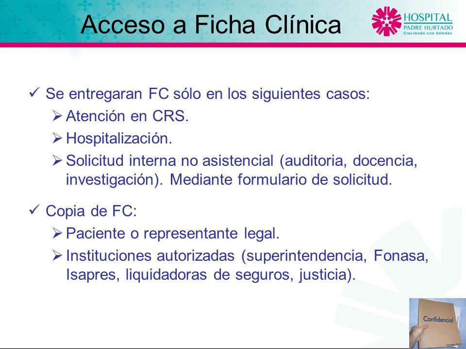 Acceso a Ficha Clínica Se entregaran FC sólo en los siguientes casos: