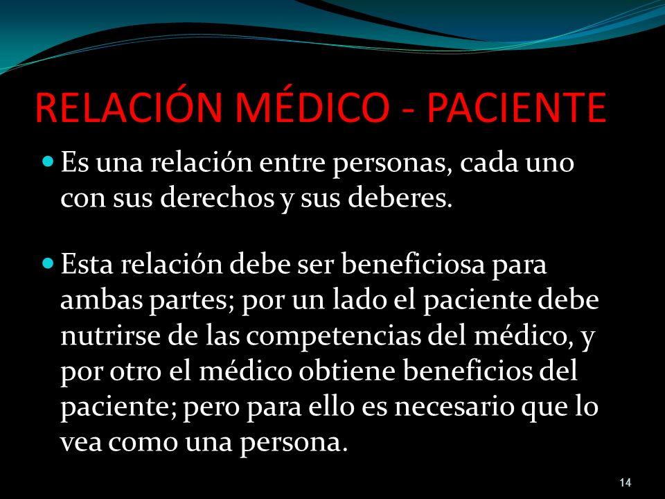 RELACIÓN MÉDICO - PACIENTE