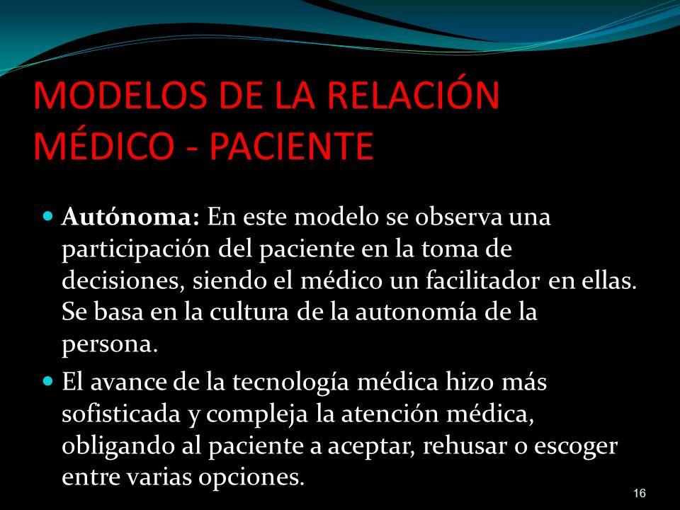MODELOS DE LA RELACIÓN MÉDICO - PACIENTE