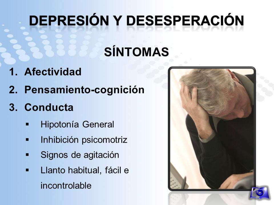 SÍNTOMAS Afectividad Pensamiento-cognición Conducta Hipotonía General