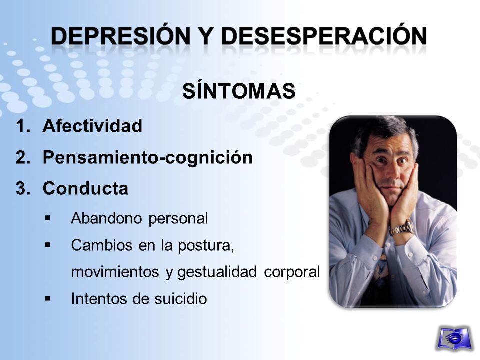 SÍNTOMAS Afectividad Pensamiento-cognición Conducta Abandono personal