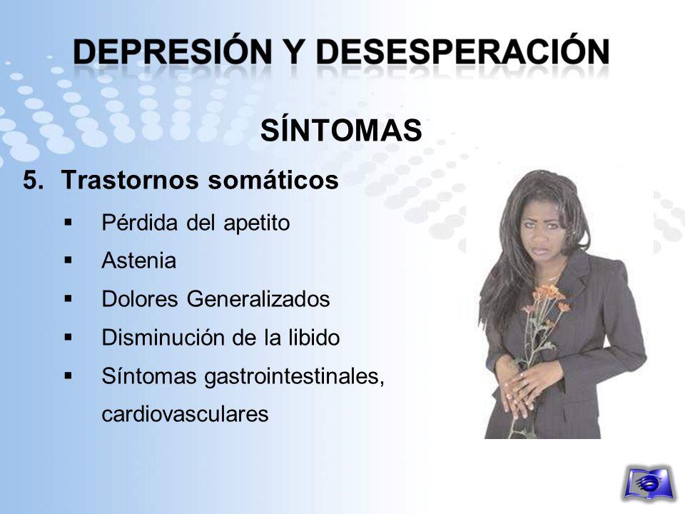SÍNTOMAS Trastornos somáticos Pérdida del apetito Astenia