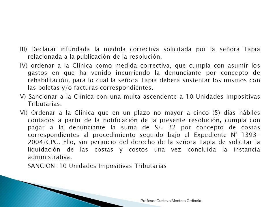 SANCION: 10 Unidades Impositivas Tributarias