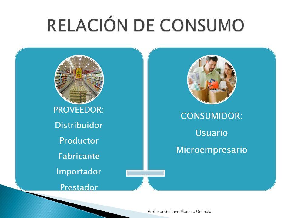 RELACIÓN DE CONSUMO CONSUMIDOR: Usuario Microempresario PROVEEDOR: