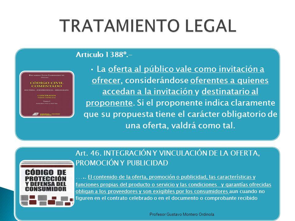 TRATAMIENTO LEGAL Articulo 1388º.-