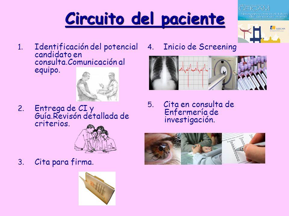 Circuito del paciente Identificación del potencial candidato en consulta.Comunicación al equipo.