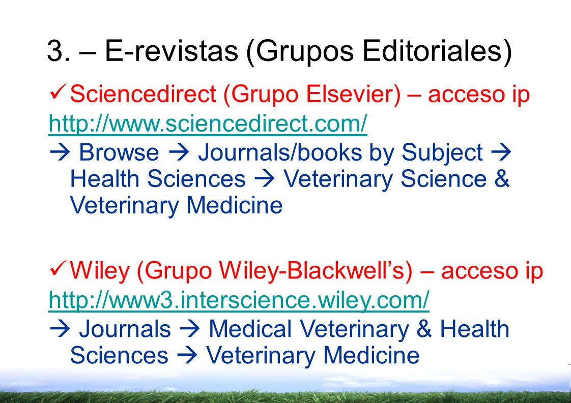 3. – E-revistas (Grupos Editoriales)