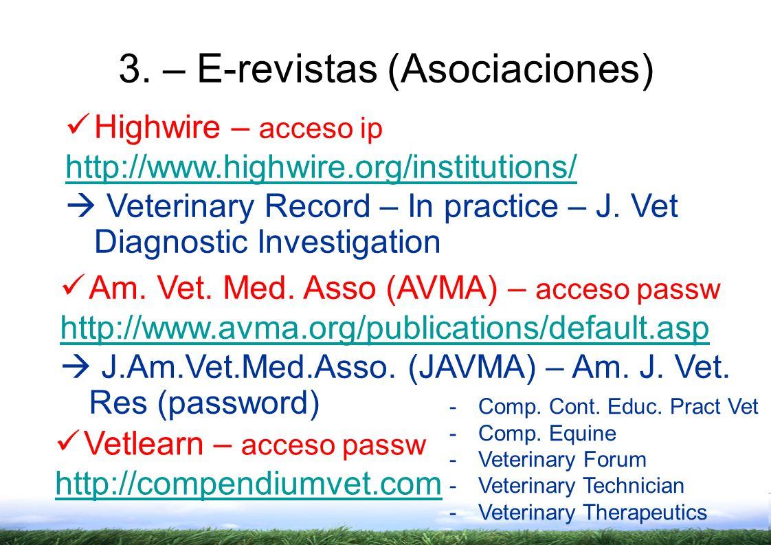 3. – E-revistas (Asociaciones)