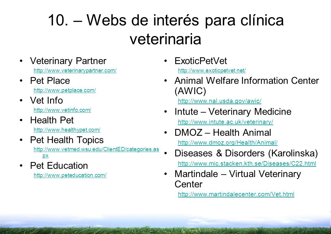 10. – Webs de interés para clínica veterinaria