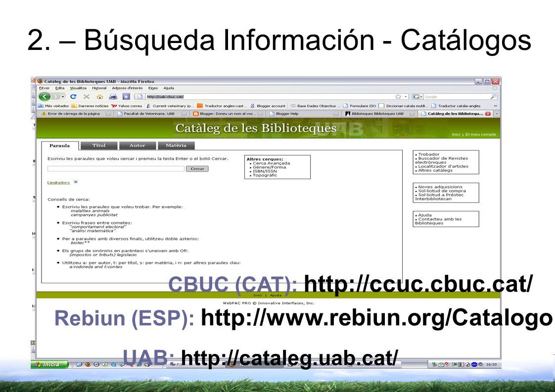 2. – Búsqueda Información - Catálogos