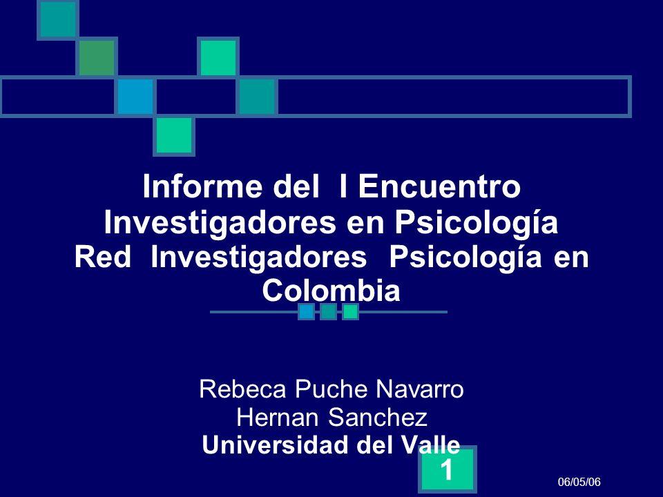 Informe del I Encuentro Investigadores en Psicología Red Investigadores Psicología en Colombia Rebeca Puche Navarro Hernan Sanchez Universidad del Valle