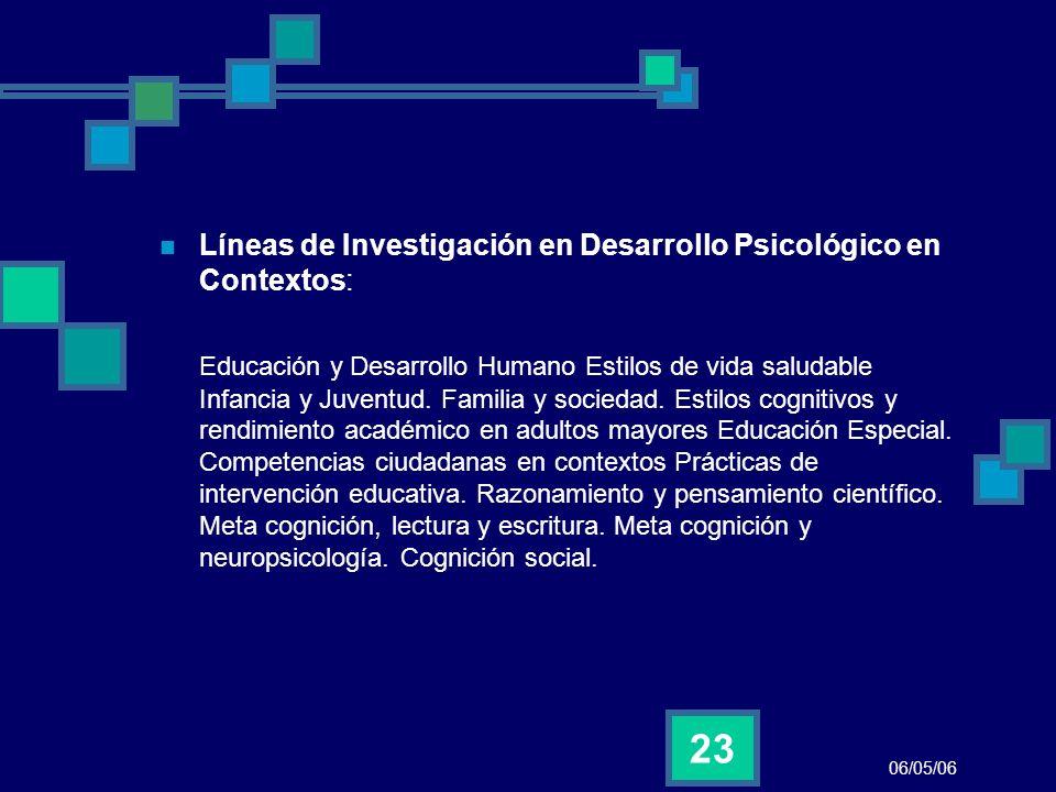 Líneas de Investigación en Desarrollo Psicológico en Contextos:
