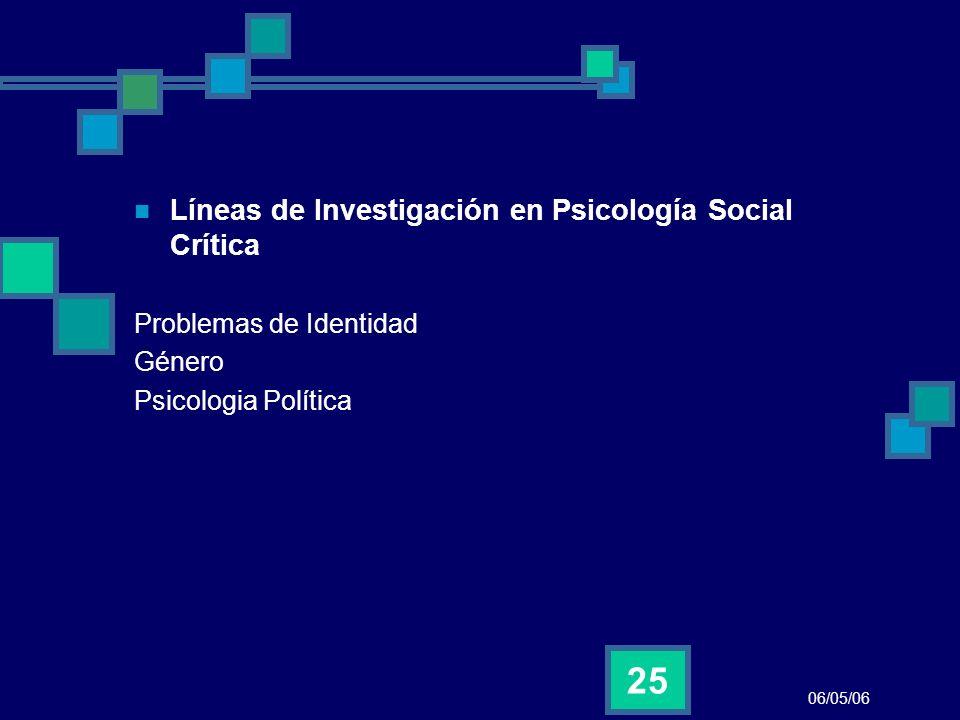 Líneas de Investigación en Psicología Social Crítica