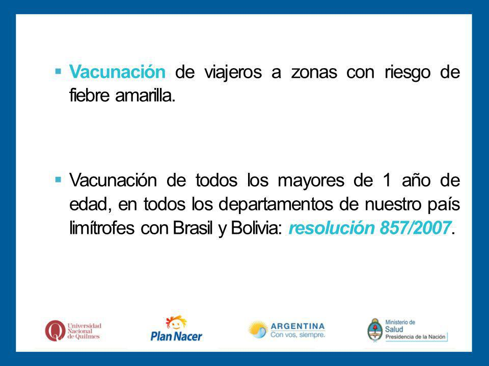 Vacunación de viajeros a zonas con riesgo de fiebre amarilla.