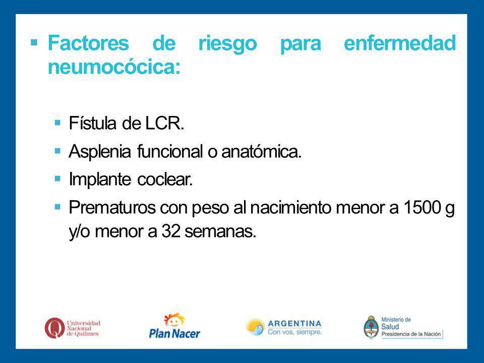 Factores de riesgo para enfermedad neumocócica: