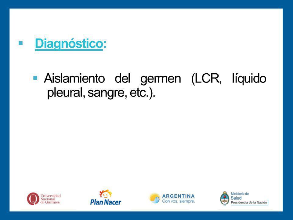 Diagnóstico: Aislamiento del germen (LCR, líquido pleural, sangre, etc.).