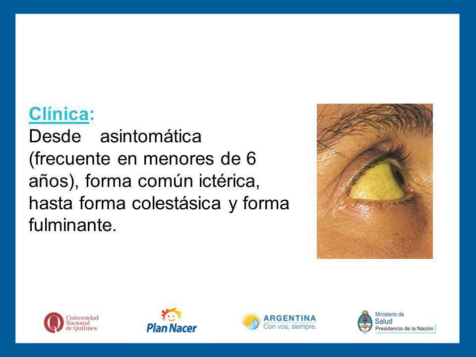 Clínica: Desde asintomática (frecuente en menores de 6 años), forma común ictérica, hasta forma colestásica y forma fulminante.
