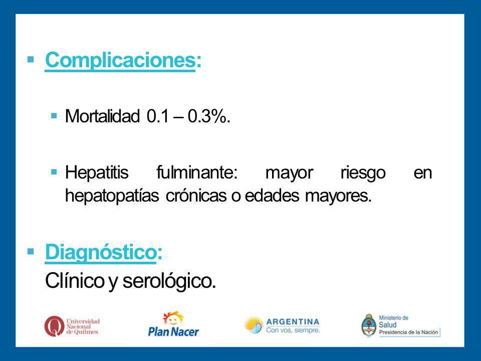 Complicaciones: Diagnóstico: Clínico y serológico.