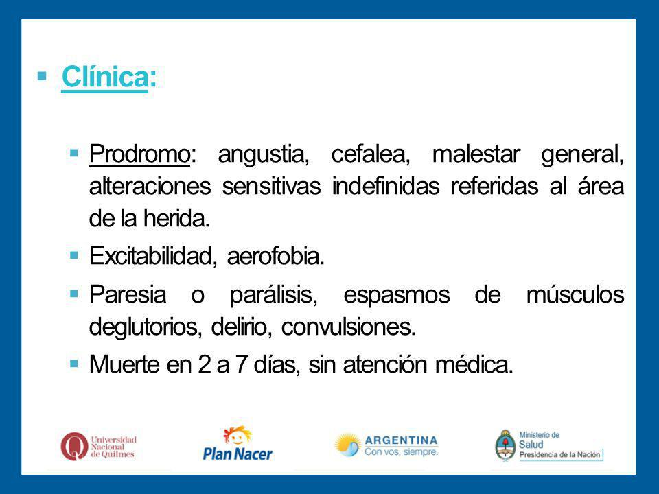 Clínica: Prodromo: angustia, cefalea, malestar general, alteraciones sensitivas indefinidas referidas al área de la herida.