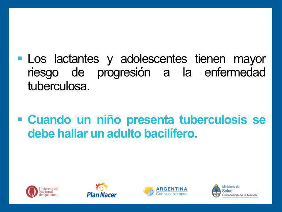 Los lactantes y adolescentes tienen mayor riesgo de progresión a la enfermedad tuberculosa.