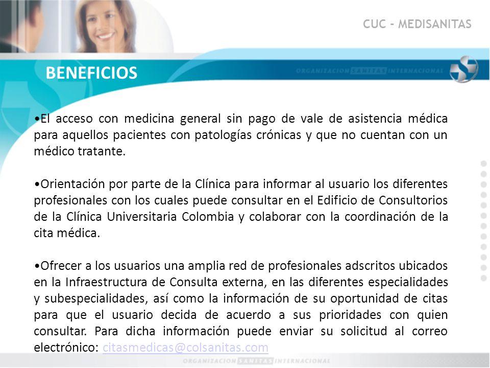 CUC - MEDISANITAS BENEFICIOS.