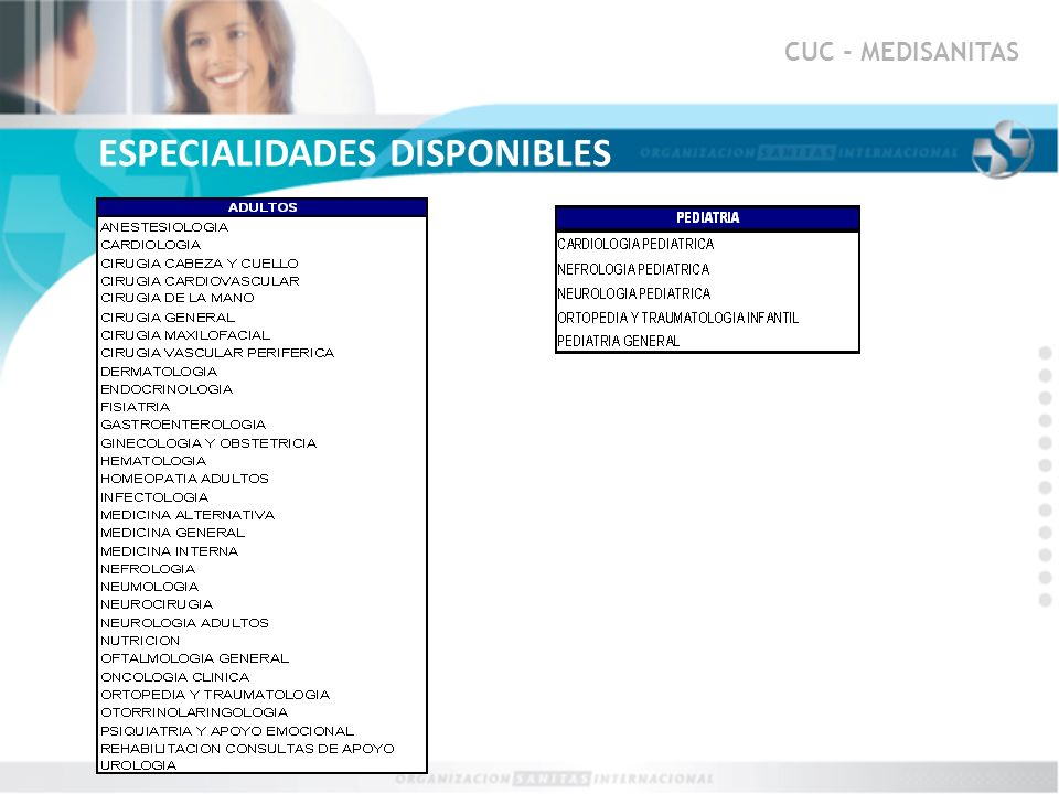 ESPECIALIDADES DISPONIBLES