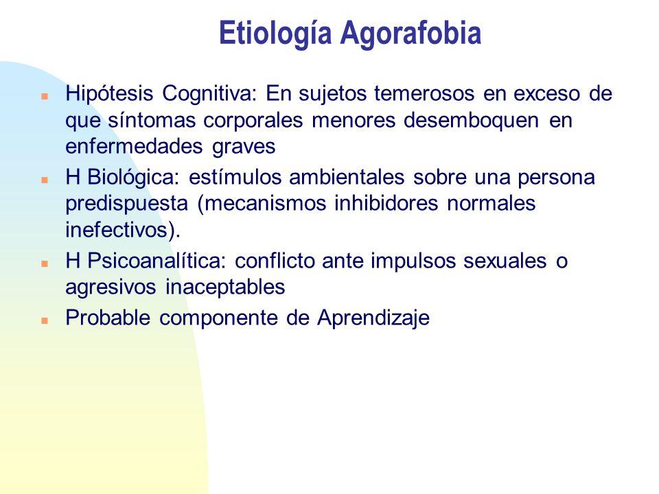 Etiología Agorafobia Hipótesis Cognitiva: En sujetos temerosos en exceso de que síntomas corporales menores desemboquen en enfermedades graves.