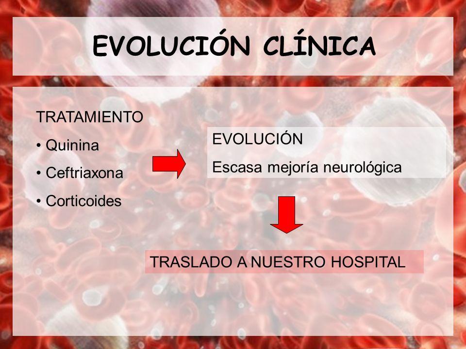 EVOLUCIÓN CLÍNICA TRATAMIENTO Quinina Ceftriaxona EVOLUCIÓN