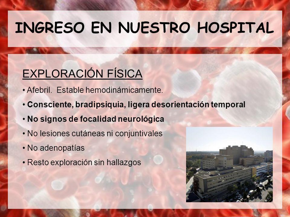 INGRESO EN NUESTRO HOSPITAL