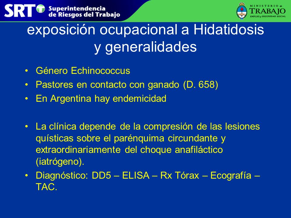 exposición ocupacional a Hidatidosis y generalidades