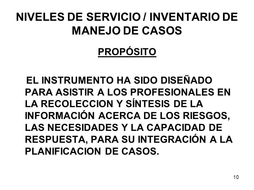 NIVELES DE SERVICIO / INVENTARIO DE MANEJO DE CASOS