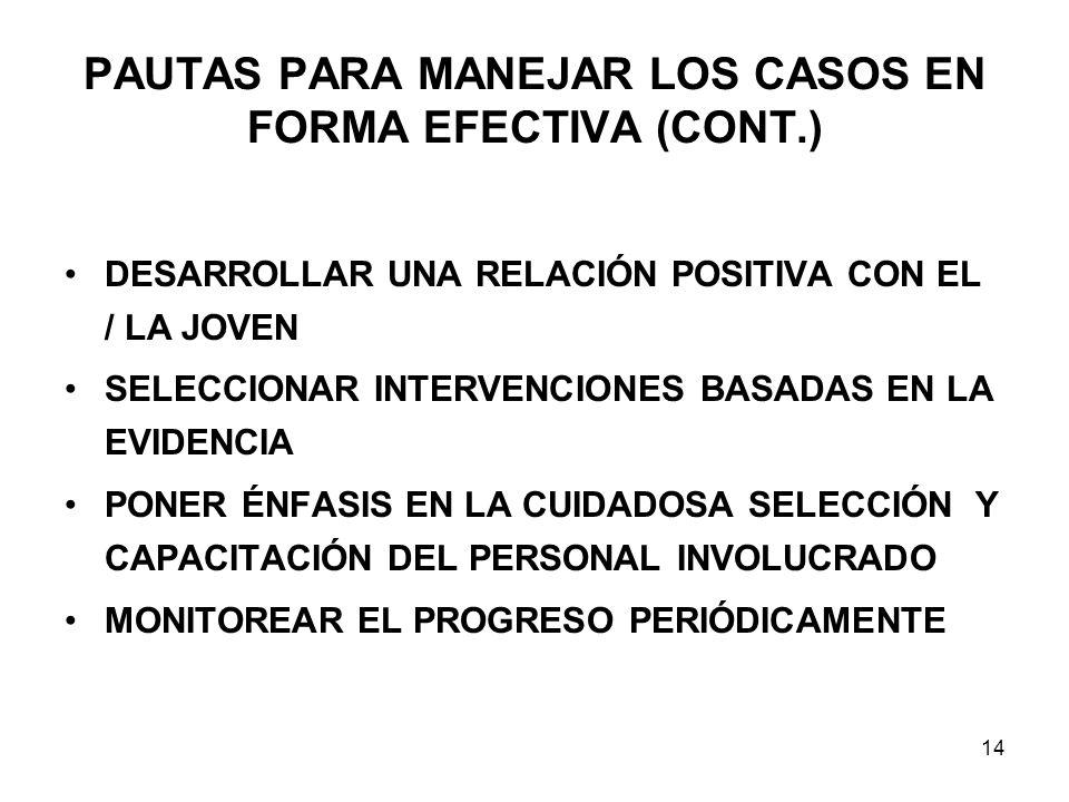 PAUTAS PARA MANEJAR LOS CASOS EN FORMA EFECTIVA (CONT.)