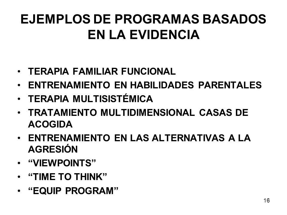 EJEMPLOS DE PROGRAMAS BASADOS EN LA EVIDENCIA