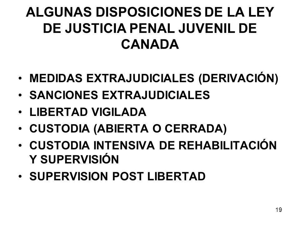 ALGUNAS DISPOSICIONES DE LA LEY DE JUSTICIA PENAL JUVENIL DE CANADA