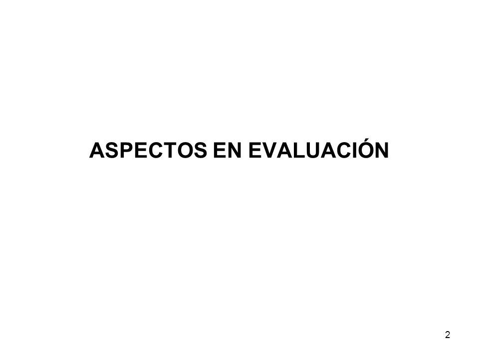ASPECTOS EN EVALUACIÓN