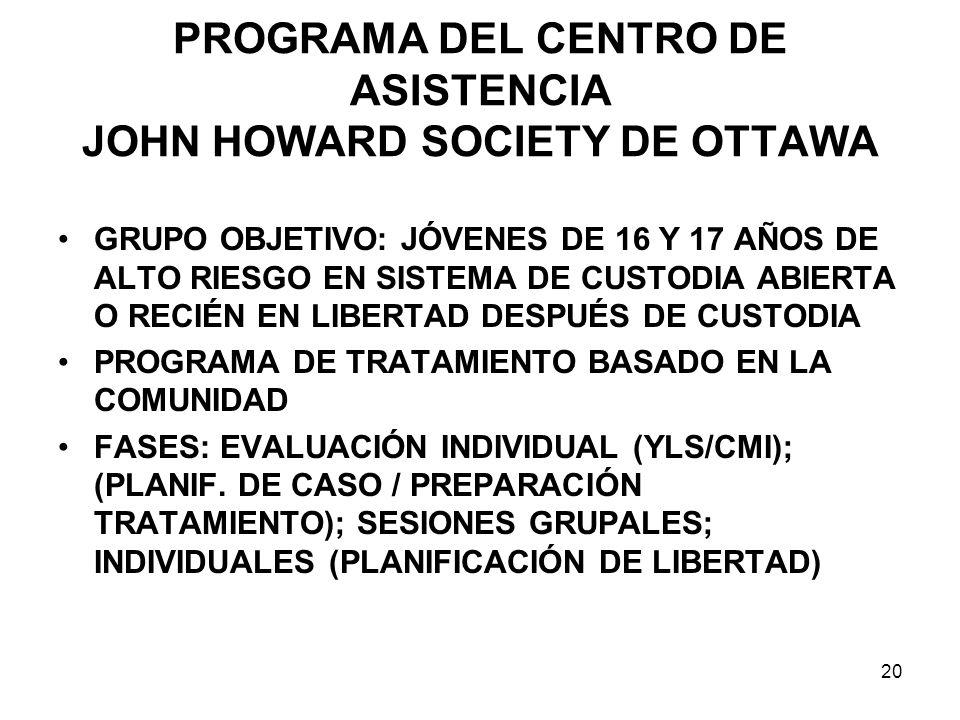PROGRAMA DEL CENTRO DE ASISTENCIA JOHN HOWARD SOCIETY DE OTTAWA