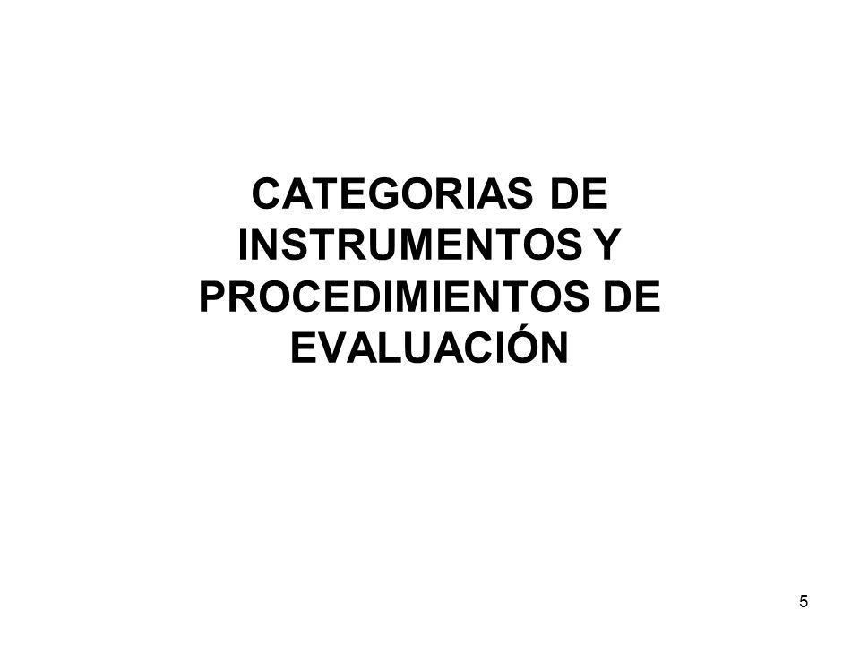 CATEGORIAS DE INSTRUMENTOS Y PROCEDIMIENTOS DE EVALUACIÓN