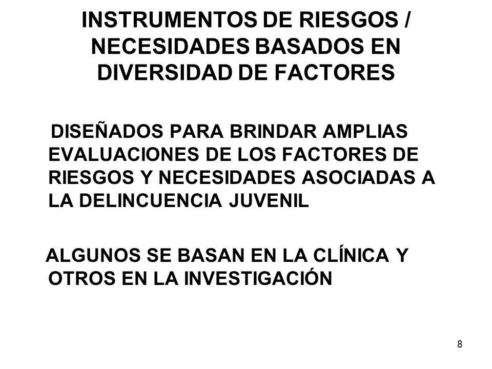 INSTRUMENTOS DE RIESGOS / NECESIDADES BASADOS EN DIVERSIDAD DE FACTORES