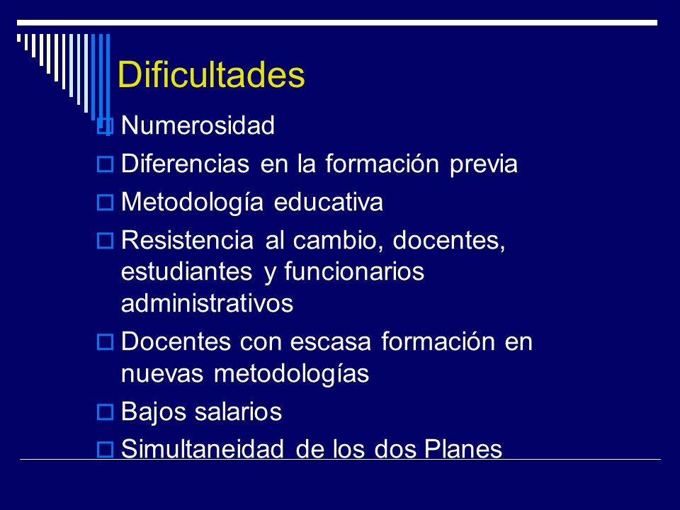 Dificultades Numerosidad Diferencias en la formación previa