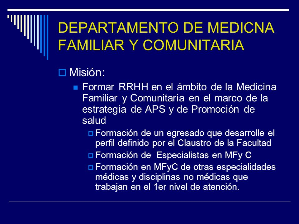DEPARTAMENTO DE MEDICNA FAMILIAR Y COMUNITARIA