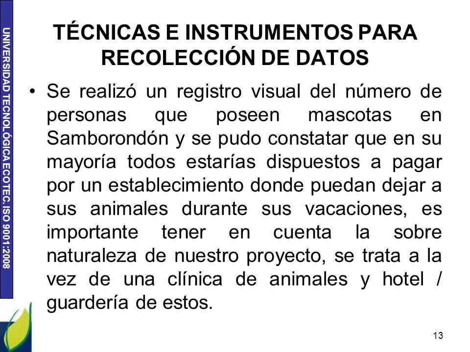 TÉCNICAS E INSTRUMENTOS PARA RECOLECCIÓN DE DATOS