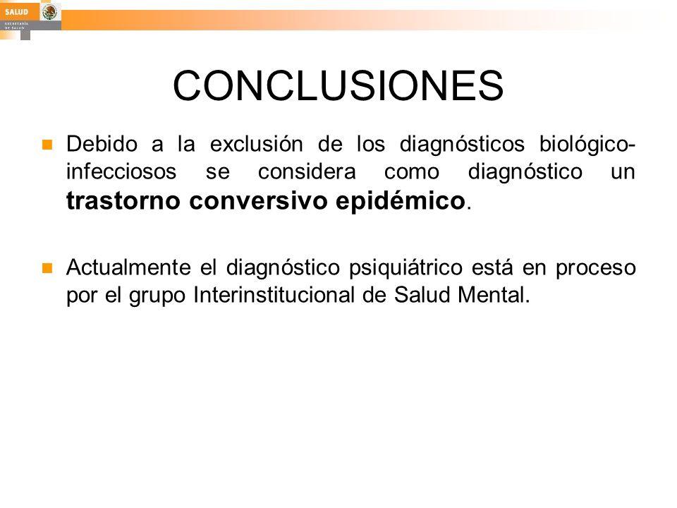 CONCLUSIONES Debido a la exclusión de los diagnósticos biológico-infecciosos se considera como diagnóstico un trastorno conversivo epidémico.
