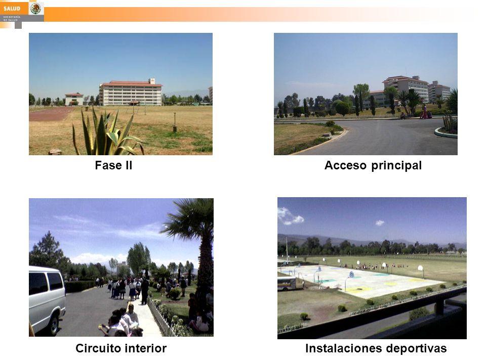 Fase II Acceso principal Circuito interior Instalaciones deportivas