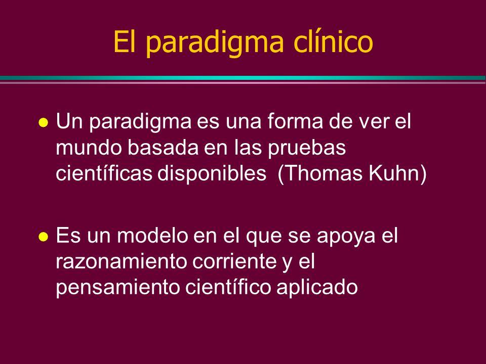 El paradigma clínico Un paradigma es una forma de ver el mundo basada en las pruebas científicas disponibles (Thomas Kuhn)