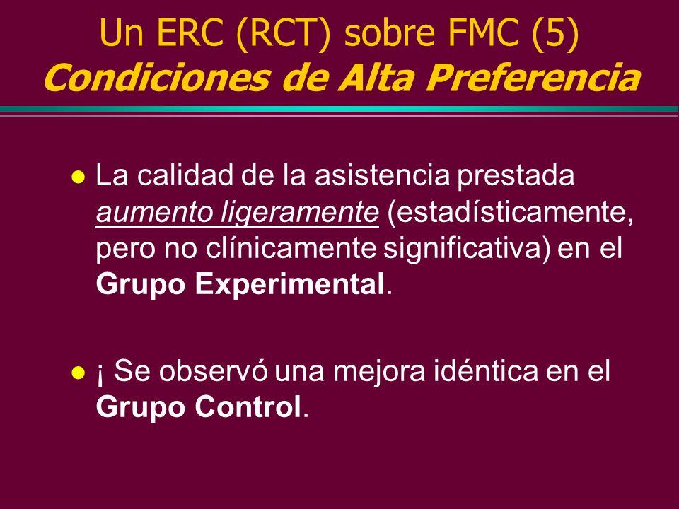 Un ERC (RCT) sobre FMC (5) Condiciones de Alta Preferencia