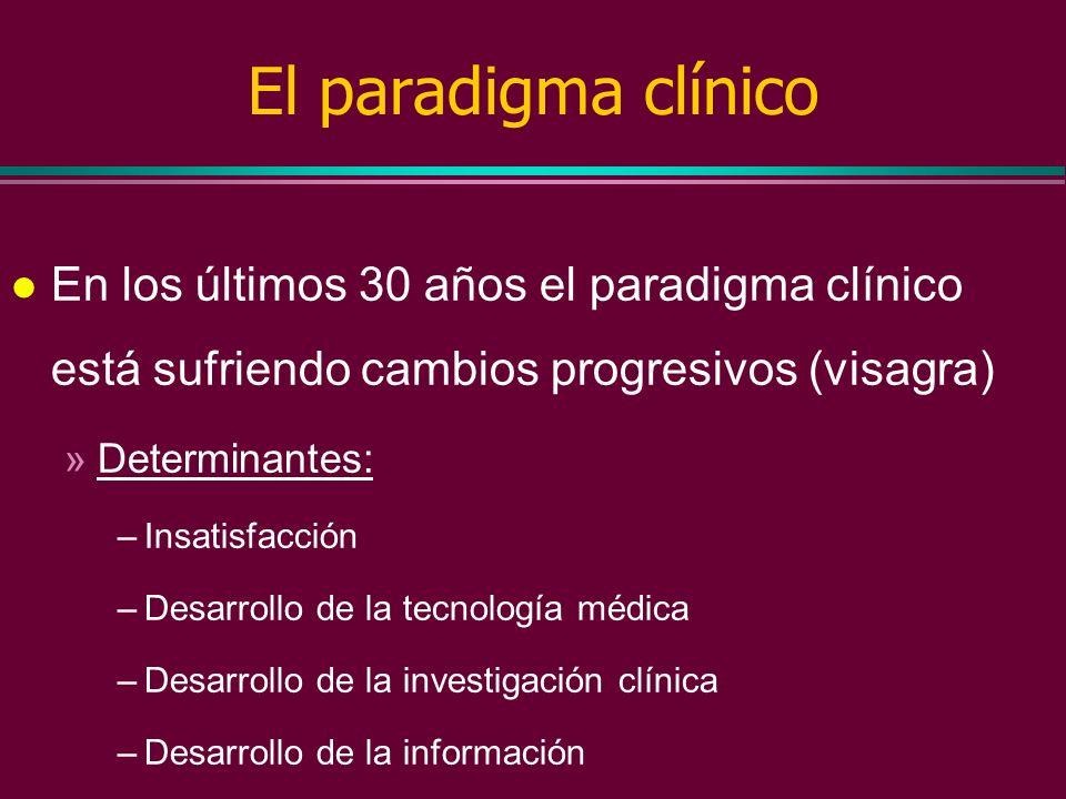 El paradigma clínico En los últimos 30 años el paradigma clínico está sufriendo cambios progresivos (visagra)