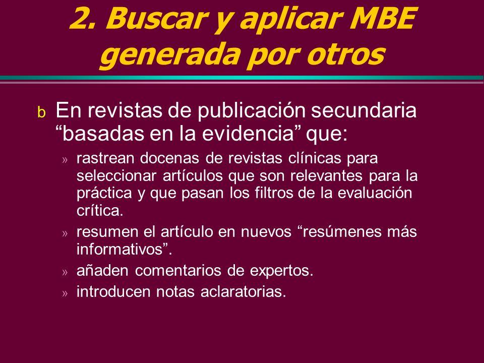 2. Buscar y aplicar MBE generada por otros