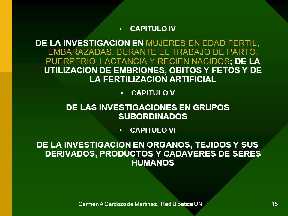 DE LAS INVESTIGACIONES EN GRUPOS SUBORDINADOS